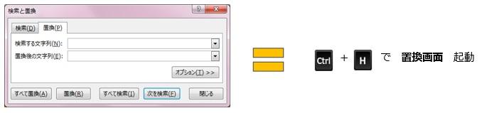 置換画面を起動するショートカットキー