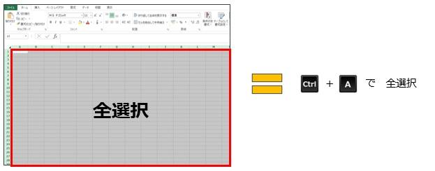 エクセルファイル内のアクティブセルを全選択するショートカットキー