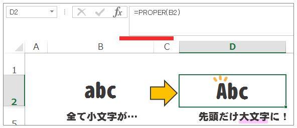 Excel(エクセル)PROPER関数で先頭文字を大文字に変換する方法
