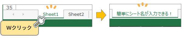 Excel豆知識。シート名の変更はWクリックだけで編集できる