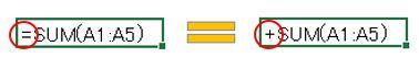 Excel豆知識。イコールの代わりにプラスを入力できる