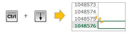 Excel豆知識。一番下のセルの番号は?